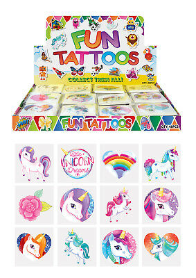 72 Childrens UNICORN Temporary Tattoos Kids Loot Party Bag Fillers Hero Toy Girl