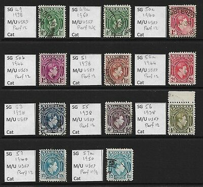 Stamps. Nigeria. KGVI. Used. Includes various perfs.