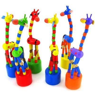 Kids Intelligence Toy Dancing Stand Colorful Rocking Giraffe Wooden Toy Gifts