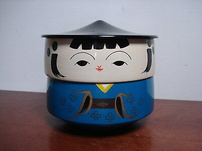 Japanese oriental stacking plastic Lacquer ware dish/bowls w/lid trinket box OMC