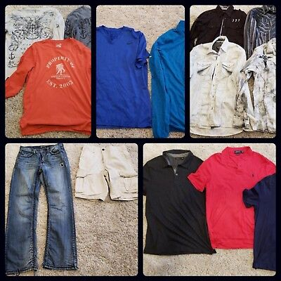 GREAT CONDITION Men's 14 Piece Clothing Lot Jeans 32/34 Shirts LARGE Shorts 33