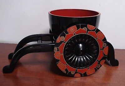 Japanese oriental plastic Lacquer ware cart w/bowl / planter centerpiece display