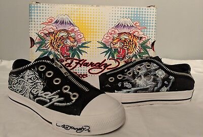 Ed Hardy Kids Girl Youth Size 1 M Black Canvas Zipper  Shoes NEW