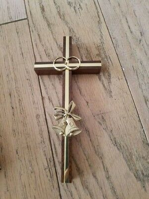 Matrimonial 50th Anniversary Commemorative | Wooden Cross w Gold Tone Bells New