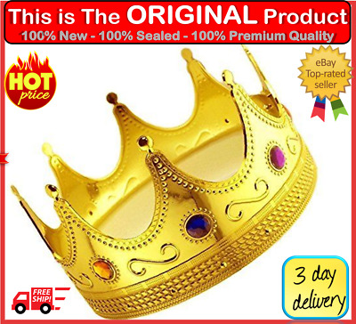 King Prince Gold Crown For Kids Boy Men Prom Birthday Costume Adult Party Custom