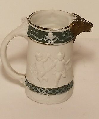 Signed Schafer & Vater German Pitcher with Ram Head and Children