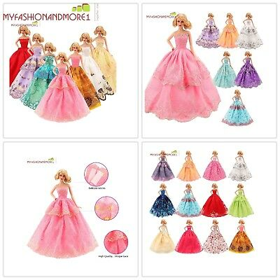 Barbie Doll Handmade 5-Pcs Fashion Wedding Party Gown Dresses Clothes XmasGift