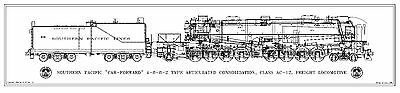 """SP Class AC-12 """"Cab-Forward"""" 4-8-8-2 Type Locomotive & Tender Drawing - Side"""