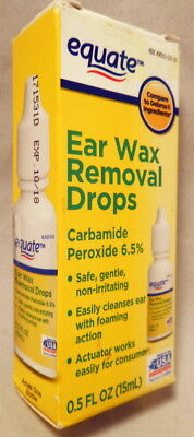 Ear Wax Removal Drops, 0.5 fl oz Carbamide Peroxide 6.5% ,equate EXP 10/2018