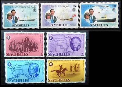 SEYCHELLES 1976 1981 - Nr. 7 MNH Selected Stamps (Royal Wedding & American Rev)