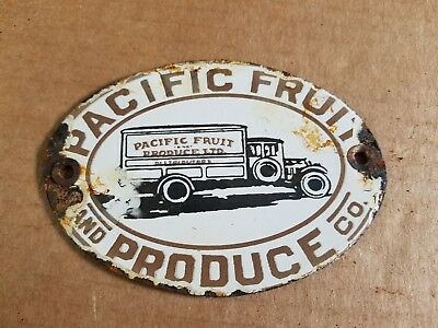 Pacific Fruit Produce Porcelain Sign Vintage General Store Old Delivery Truck