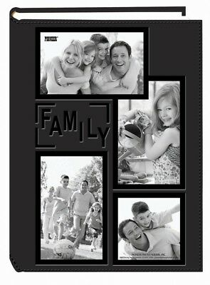 Photo Album, Collage Frame Embossed Family Sewn Leather Cover 300 Pocket Black