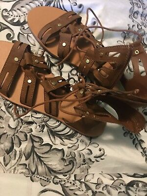 256546056ea DV for Target by Dolce Vita Gracelyn Lace Up Brown Gladiator Sandals NWOB