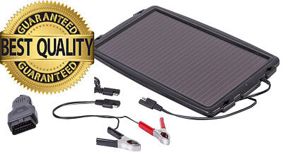 AA Solar-Powered Car Battery Charger - Black