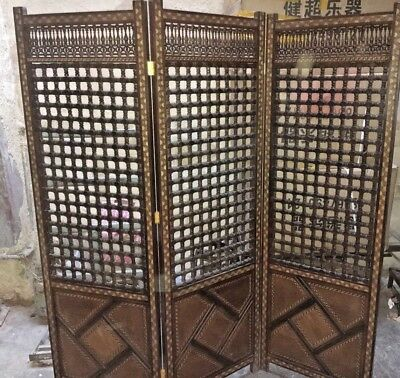 Handmade Wooden 3 Panel Room Divider  with Hand Work Arabisque