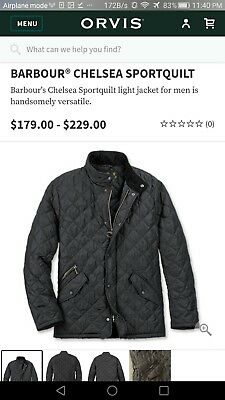 Barbour Men's Navy blue Chelsea Sportsquilt Quilted Jacket $225 XL Extra Large 8