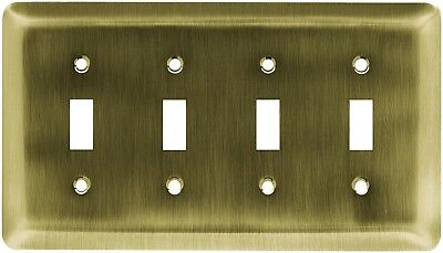 Brainerd (126433) Antique Brass Quad Switch Wall Plate - Lot of 3