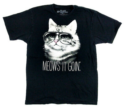 Black Matter Meows it Goin Cat Cotton T-Shirt by Goodie Two Sleeves Medium