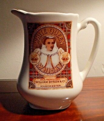 Vintage Derbyshire Pottery White Queen Whisky Manchester Pub Jug - Pitcher