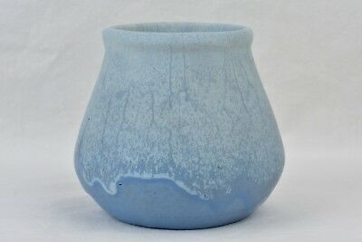 Muncie Pottery 1920's White over Blue Arts and Crafts Vase #117-3 1/2