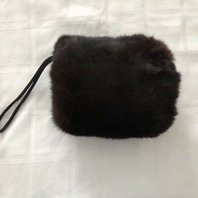 Vintage black fur hand muff- 1940's, pre-owned, excellent condition, hardly used