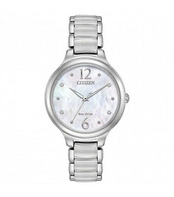 Citizen Eco Drive Ladies Mother-Of-Pearl Dial Stainless Steel Watch EM0550-59D
