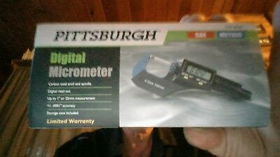 """New! PITTSBURGH Digital Micrometer w/ Case SAE & Metric Up to 1""""/25mm 68305"""