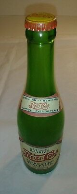 Vintage Pepsi Cola Double Dot Green Bottle with Paper label 12oz., Tulsa okla.