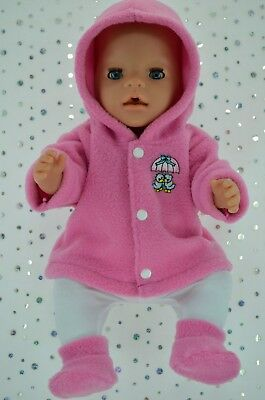 """Play n Wear Doll Clothes To Fit 17"""" Baby Born CANDY PINK JACKET~TIGHTS~BOOTIES"""