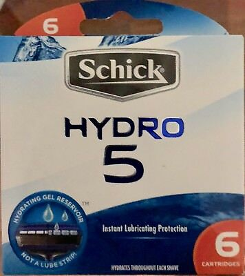 Schick HYDRO 5 - 6 Pack (with hydrating gel) Made in The USA  New & Sealed
