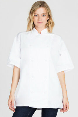 Uncommon Threads chef coat, white, Short Sleeve Fabric Button  XS-6XL, C0495