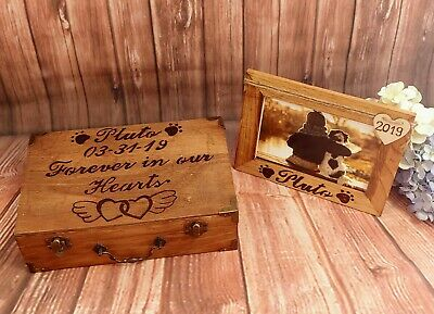 Memorial Pet Ashes Wooden Box Custom Picture Frame Personalized Keepsake Box