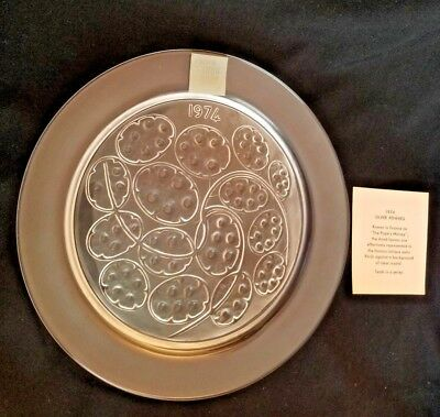~ Silver Pennies ~ Collectible Crystal Plate Year 1974 Lalique France, In Box!