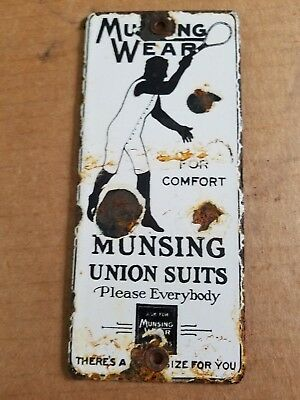 Munsing Wear Union Suits Porcelain Sign Vintage General Store Clothing old rust