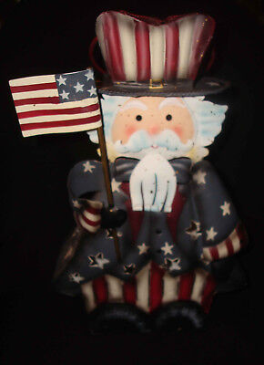 Home Interiors Uncle Sam Patriotic 4th of July Holiday Tin Metal Candle Lantern