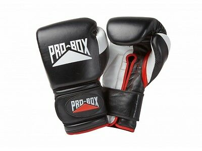 *FREE* Pro Box Pro-Spar Leather Sparring Gloves Black Boxing Kickboxing Training
