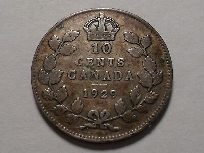 1929 Nice Canada 92.5% Silver 10 Cent Low Mintage 3,253,888!!!!