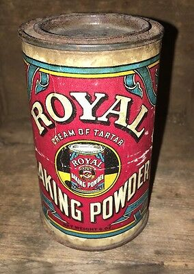 Antique Royal Baking Powder tin 6oz (still has baking powder in it) Paper Label