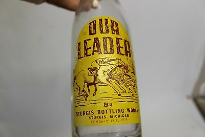 Our Leader Soda Bottle, Sturgis, Michigan 1940's Ball Glass Co.
