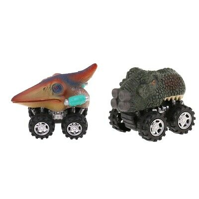 2x Dinosaurs Animal Figures Pull Back Cars Jurassic Toys Kids Birthday Gifts