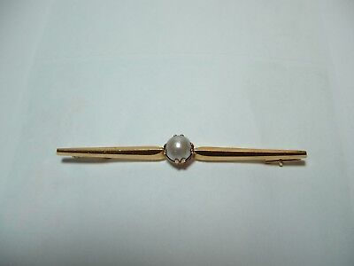 Antique 18K Yellow Gold & Pearl Pin