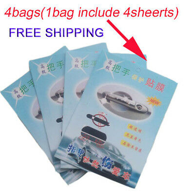 Car Clear Adhesive Film Sheet Door Handle Paint Protect Scratch 4 x Invisible