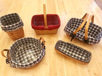 Longaberger Lot of 5 Baskets, 5 Fabric Liners and 4 Protective Inserts!
