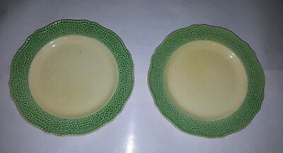 """OLD ROMAN by Homer Laughlin EXTREMELY HTF lot 2-10"""" Dinner Plates - Green-Yellow"""