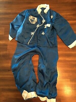 Rare Authentic Vintage Embroidered Japanese Toddler/Child Satin Blue Pajamas
