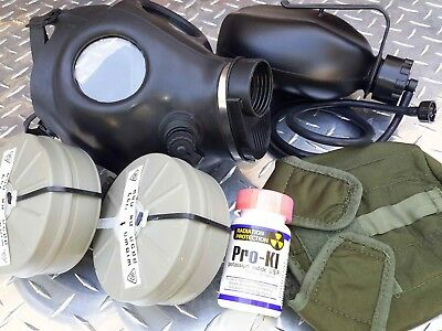 Isreali IDF Gas Mask COMPLETE NBC SETUP w/Drink System/Canteen/2x Filters/Pro-KI
