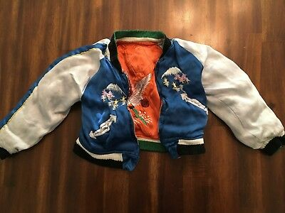 Rare Authentic Vintage Embroidered Japanese Satin Toddler Reversible Jacket