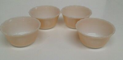1950s FIRE KING- SET OF 4 CUSTARD CUPS/ PEACH COLORED/GLASS