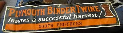 VINTAGE 1920's 30s PLYMOUTH BINDER TWINE Advertising Banner Moots Brothers IL