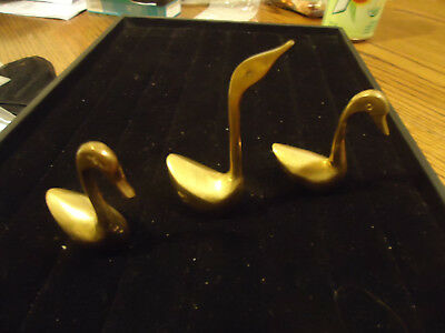 """Set of 3 Small solid Brass Swans Made in India 2.5"""" 2.5"""" 3.5"""""""